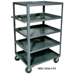 "FIVE SHELF TRUCKS, 56""H., 10"" Shelf Clearance, Size D x W x H: 24 x 36 x 55-3/4"", Cap. (lbs.): 1200"