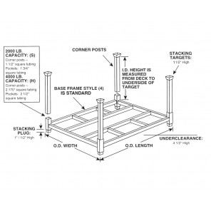 """PORTABLE STACKING RACKS - CORNER POSTS, Height Above Deck (I.D.): 30"""", Capacity (lbs.): 4000"""