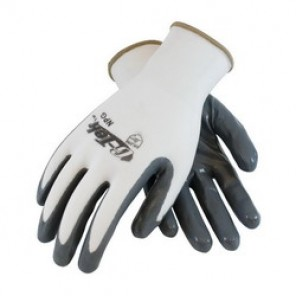 G-Tek® NPG 34-225 Solid Dipped Palm and Fingers Coated Gloves, XL, Nylon Palm, White/Gray, Seamless