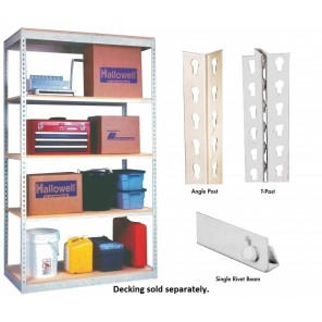 "HALLOWELL RIVETWELL™ SHELVING w/SINGLE RIVET BEAM, Type: Starter Unit, No. of Shelves: 5, Size W x D x H: 36 x 12 x 84"", Cap. (lbs.): 350"