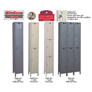 "VALUEMAX™ LOCKERS, Assembly: Unassembled, Tier: 3-Wide Unit, Single Tier, Overall W x D x H: 12 x 12 x 78"", Opening W x D x H: 12 x 12 x 72"", No. of Openings: 3"