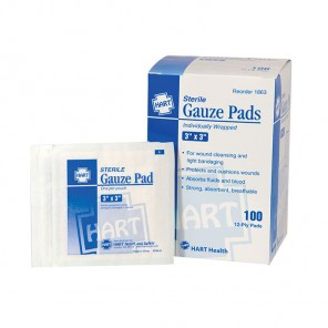 "Gauze Pads HART 1863 Sterile Individually wrapped 12-ply 3"" x 3"" 100/Box"