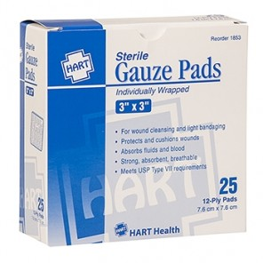 "GAUZE PADS, HART, sterile, individually wrapped, 12-ply, 3"" x 3"", 25 per box 1853"