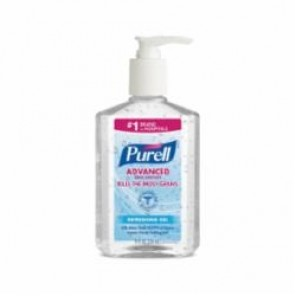 Purell® 9652-12 Advanced Hand Sanitizer, 8 fl-oz, Table Top Pump Bottle Packing, Gel, Fruity, Clear