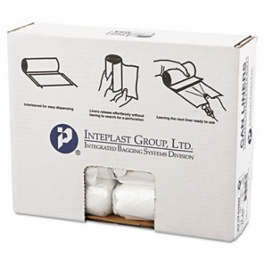 Interplast S242408N High-Density Can Liner, 24 x 24, 10gal, 8mic, Clear, 50/Roll, 20 Rolls/Carton