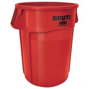 Brute FG264360RED Vented Trash Receptacle Stackable, Round, 44 gal, 24 in Dia, 24 in L x 24 in W x 31-1/2 in H, Red