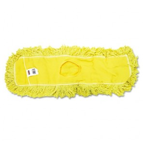 "Trapper Commercial Dust Mop, Looped-end Launderable, 5"" x 24"", Yellow"