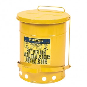 Justrite Oily Waste Can - 09101 - 6 Gallon - Yellow with Foot Operated Cover