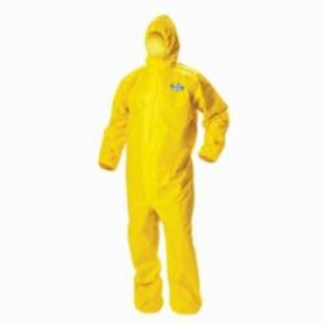 KleenGuard; A70 Disposable Coverall With Attached Hood, 5XL, Yellow, Polyethylene/Spunbond Polypropylene, 27 in Chest