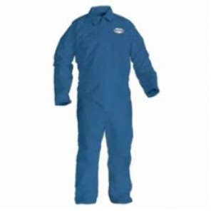 KleenGuard; 45317 Disposable Flame Resistant Coverall, 4XL, 58 - 60 in Chest, 32 in Inseam, Blue, Polyester Spun