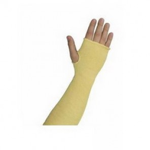 PIP® Kut-Gard® 10-KS18TO 2-Ply Cut-Resistant Sleeves With Thumb Hole, 18 in L, Seamless Rib Knit Wrist Cuff, Yellow
