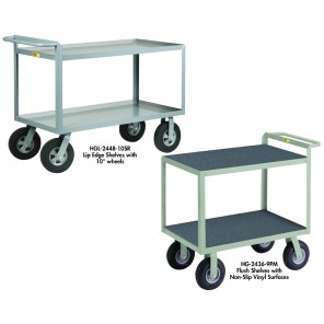 """CUSHION LOAD"" SHELF TRUCKS, Casters: 10"" Solid Rubber, Shelf Surface: Smooth Steel, Shelf Edge: 1-1/2"" Lip, Size W x L: 24 x 36"", Cap. (lbs.): 1500"
