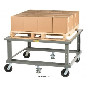 """ERGONOMIC ADJUSTABLE HEIGHT MOBILE PALLET STAND, Deck Type: Solid Deck, Size W x L: 40 x 48"""""""