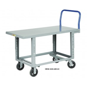 "ERGONOMIC WORK-HEIGHT PLATFORM TRUCKS, Adjustable 24-34"" H. Deck, Deck Size W x L: 30 x 60"", Edge: 1-1/2"" Lip"