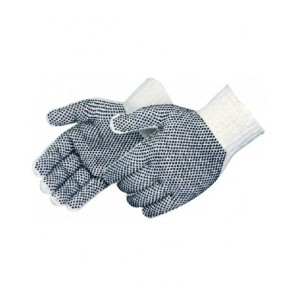 Liberty Glove 4715Q Men's Medium Weight Seamless, Reversible, Black PVC Dotted, White Cotton/Poly String Knit Gloves