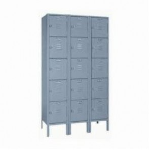 LYON® 5312 Standard Locker With Legs, 66 in H x 12 in W x 15 in D, 5 Tiers, 5 Compartments