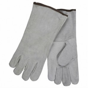 Memphis 4150B 13 inch 1 Piece Back, Gray Economy Shoulder Grade Leather Welders Gloves, Cotton Lined, Wing Thumb, XL