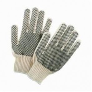 Memphis 9668M Regular Weight Natural Gloves, 7 Gauge -  60% Cotton/ 40% Polyester, PVC Dots 2 Sides, Medium, Dozen
