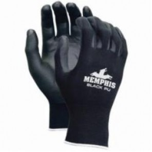 Memphis 96699 Dipped Economy Standard Coated Gloves With White Logo, Polyurethane Palm, Black, Seamless, Standard
