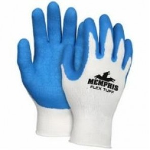 Memphis 9680, FlexTuff® Flat Dipped Premium Grade Palm and Fingers Coated Gloves, Latex Rubber Palm, Blue/White