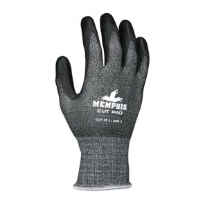 Memphis 92723PU Cut-Resistant Gloves, Polyurethane Palm, Black, Single Dipped, Synthetic