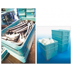 "STACKING CONTAINERS, Blue, Inside Size L x W x H: 21-1/8 x 11-1/8 x 3"", Outside Size L x W x H: 23-3/8 x 12 x 3-1/8"", Ctn. Qty.: 12"