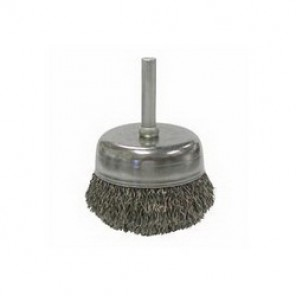 Mighty-Mite™ 14306 Stem Mounted Cup Brush, 2 in Dia, 1/4 in, 0.0118 in Steel Crimped Wire