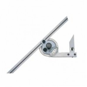 Mitutoyo 187 Metric Universal Bevel Protractor With 60 deg and 45 deg Edge Blades, 360 deg, 300 mm Blade