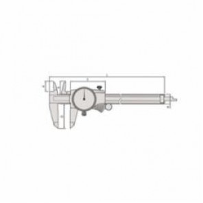 Mitutoyo 505 Dial Caliper, 0 to 150 mm, Graduation 0.02 mm, 2 mm/rev, 21 x 40 mm Jaw Depth, Stainless Steel, TiN Coated