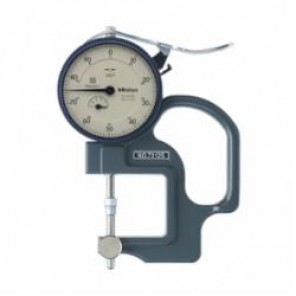 Mitutoyo Series 7 Imperial Reverse Anvil Dial Thickness Gage, 0 to 0.4 in, Graduation 0.001 in, 1.2 in Throat Depth
