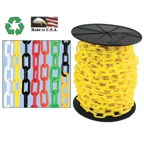 "PLASTIC CHAIN, Black/Yellow, Chain Size: 2"", Trade Size: #8, Chain Length: 160' Pail"