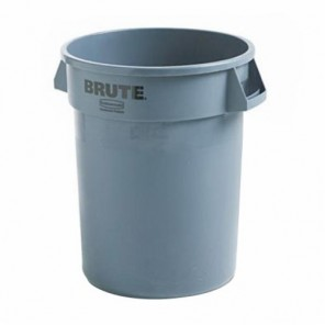 Rubbermaid Commercial Products® FG263200GRAY Stackable Waste Container, 32 gal, 21.9 in Dia
