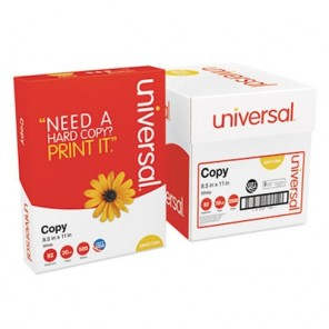Universal Copy Paper Convenience Carton, 92 Bright, 20lb, 8.5 x 11, White, 5 Reams/Carton