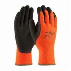 PIP® PowerGrab™ Thermo 41-1400 High Visibility Palm and Fingers Coated Gloves, Latex Palm, Orange/Brown, Seamless