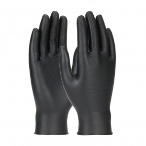 PIP Ambi-Dex Grippaz 67-246 Black Powder free Disposable gloves, Textured Fish Scale grip, 6 mil thick