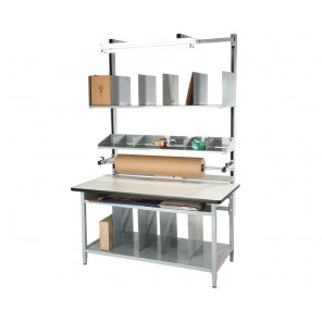"COMPLETE PACKAGING WORKBENCHES, Size L x W: 60 x 30"", Top Work Surface: ESD Laminate"