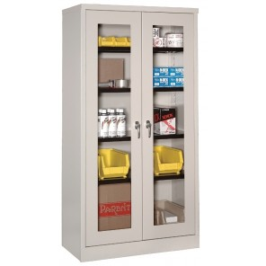 "VISUAL STORAGE CABINETS, Size W x D x H: 36 x 24 x 72"", Light Gray"