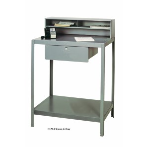 DISPATCH DESKS, Gray, No. of Top Compartments: Double, Lower Tray: Tie Rods, Foot Glides, Drawer Size: 20 x 20 x 6""
