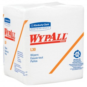 WypAll L30 Medium Duty Dry Wiper, 12-1/2 x 12 in, White, 90/Box, 12 Boxes/Carton