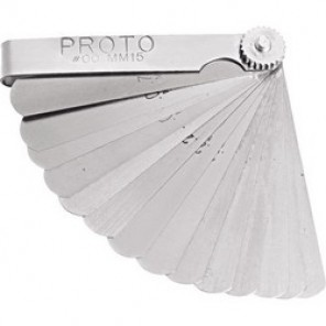 Proto® J00MM15 Metric Short Blade Feeler Gauge Set, 15 Pieces, 1/2 x 3 in Blade, Steel Holder