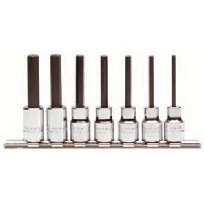 Proto® J4900-7C Hex Bit Socket Set, 7 Pieces, 3/8 in Square Drive, Forged Alloy Steel, Nickel Chrome Plated