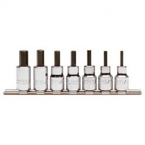 Proto® J4990-SMA Hex Bit Socket Set, 7 Pieces, 3/8 in Square Drive, Forged Alloy Steel, Nickel Chrome Plated