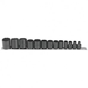 Proto® J52304 SAE Standard Length Socket Set, 13 Pieces, 3/8 in Drive, 12 Point, Black Oxide