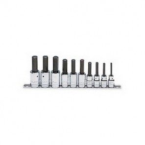 Proto® J5441-MA Metric Standard Length Socket Bit Set, 10 Pieces, 1/2 in Square Drive, Hex Tip, Forged Alloy Steel