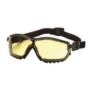 Pyramex® GB1830ST Protective Goggles, Universal, Framed Black Frame, Anti-Fog, Scratch-Resistant Amber Lens
