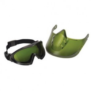 Pyramex® Capstone® Shield Direct/Indirect Protective Goggles With Tinted Faceshield Attachment, Green Frame, Anti-Fog