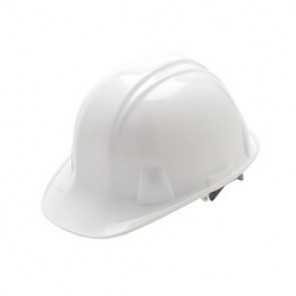 Pyramex® HP14010 Front Brim Hard Hat, 6-1/2 - 8 in, White, 4-Point Nylon Snap Lock Suspension, High Density Polyethylene