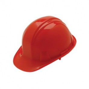 Pyramex® HP14020 Front Brim Hard Hat, 6-1/2 - 8 in, Red, 4-Point Nylon Snap Lock Suspension, High Density Polyethylene