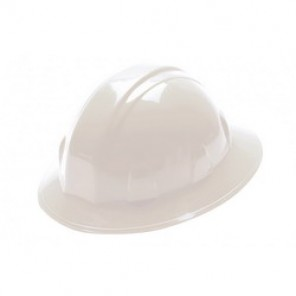Pyramex® HP26110 Full Brim Hard Hat, 6-1/2 - 8 in, White, 6-Point Nylon Ratchet Suspension, High Density Polyethylene