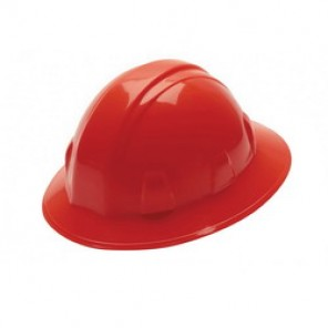 Pyramex® HP26120 Full Brim Hard Hat, 6-1/2 - 8 in, Red, 6-Point Nylon Ratchet Suspension, High Density Polyethylene
